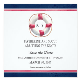 Nautical Wedding with Hand Painted Life Preserver Card
