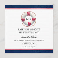 Nautical Wedding with Hand Painted Life Preserver Save The Date