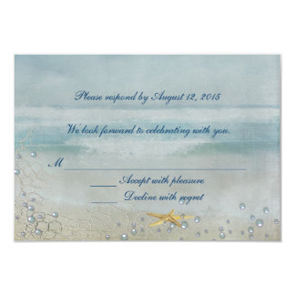 Nautical Wedding with starfish RSVP 3.5x5 Paper Invitation Card