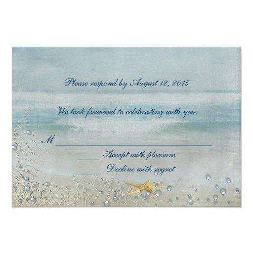 Nautical Wedding with starfish RSVP Invitation