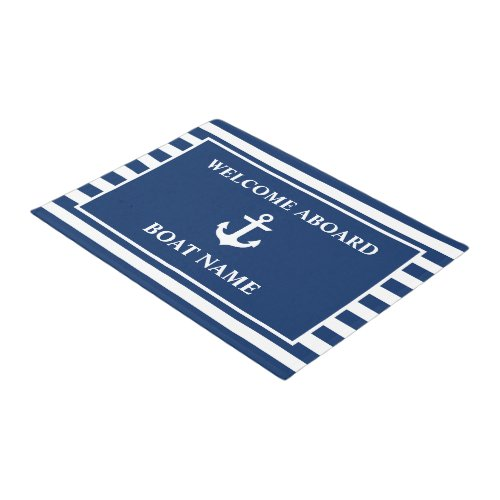 Nautical Welcome Aboard Anchor Navy Blue Striped Doormat