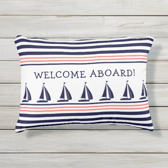Welcome Aboard Navy And White Stripes
