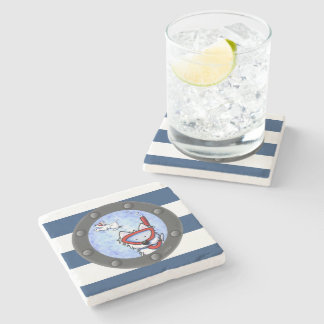 Nautical Westies Porthole Stone Coaster