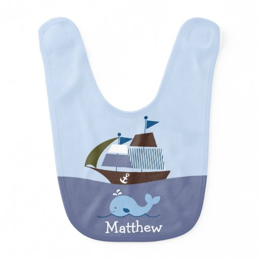 Nautical Whale Baby Bib