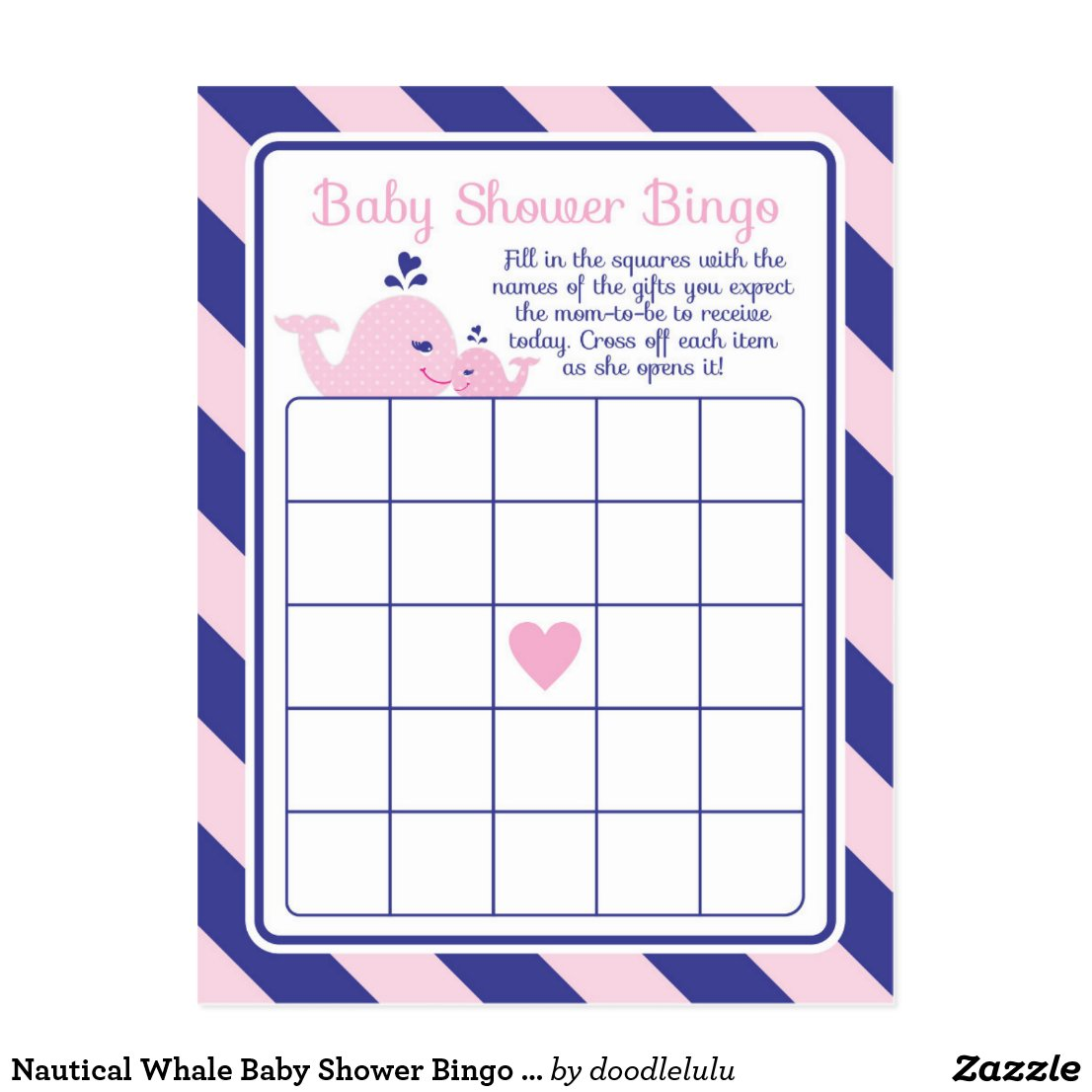 Nautical Whale Baby Shower Bingo Game pink & navy Postcard