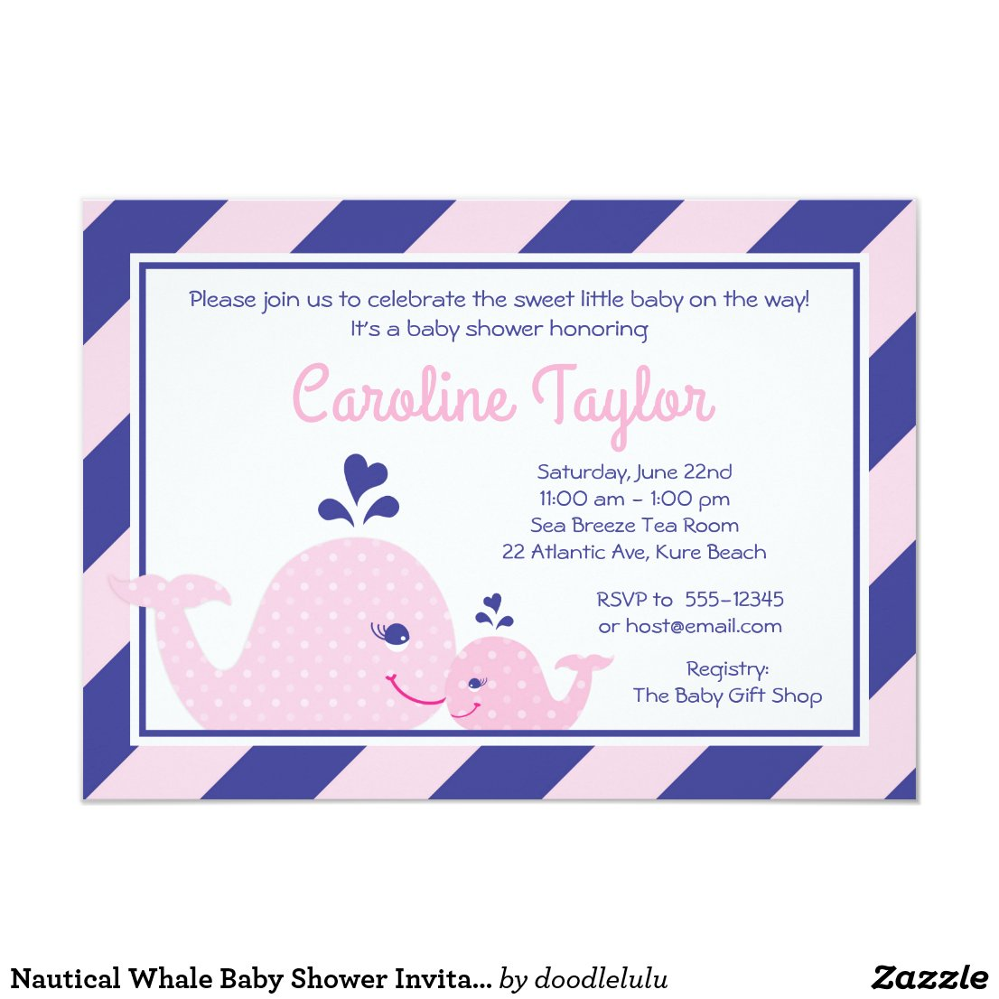 Nautical Whale Baby Shower Invitation pink & navy