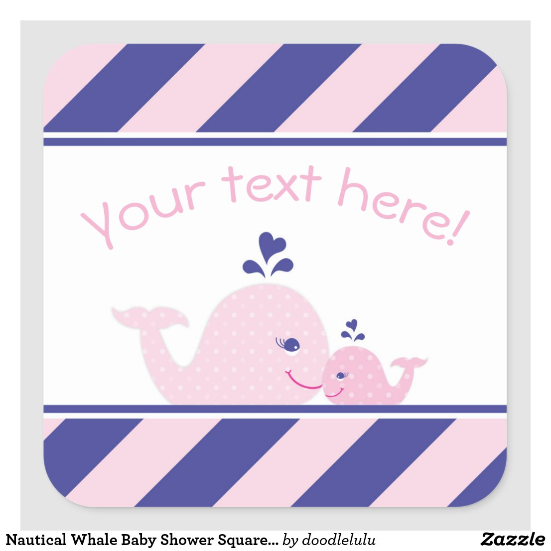 Nautical Whale Baby Shower Square Sticker