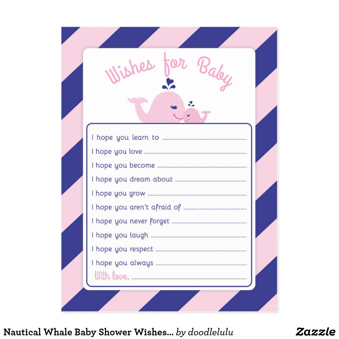 Nautical Whale Baby Shower Wishes for Baby Postcard