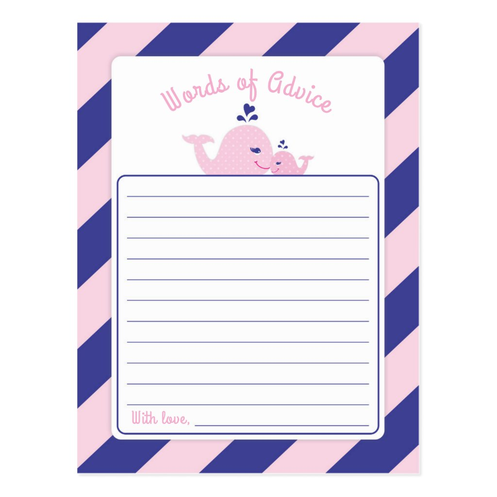 Nautical Whale Baby Shower Words of Advice Postcard