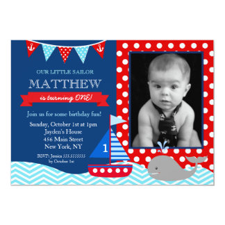 Nautical Whale Birthday Party Invitation
