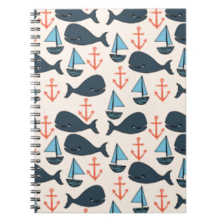Nautical Whale Boat Anchor Blue / Andrea Lauren Notebook