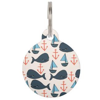Nautical Whale Boat Anchor Blue / Andrea Lauren Pet Name Tag