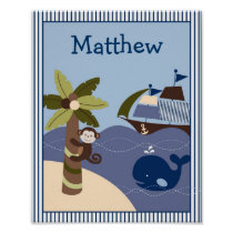 Nautical Whale Boat Nursery Wall Art Name Print