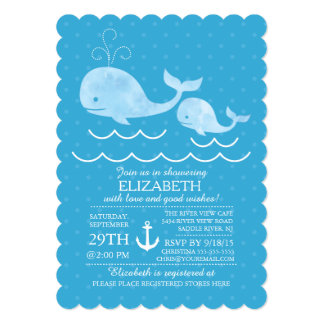Nautical Whale Boys Baby Shower Invitation