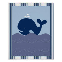 Nautical Whale Boys Nursery Wall Art Print