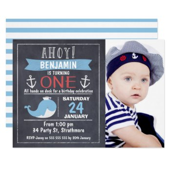 Nautical Whale Chalkboard 1st Birthday Invitation by Sugar_Puff_Kids at Zazzle