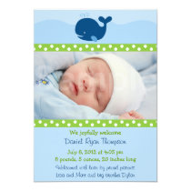 Nautical Whale Custom Photo Birth Announcement