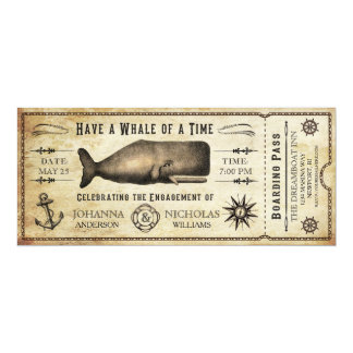 """Nautical Whale Engagement Party Ticket Invitation 4"""" X 9.25"""" Invitation Card"""