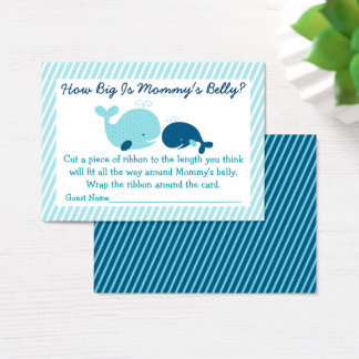 Nautical Whale How Big Is Mommy's Belly Game Business Card