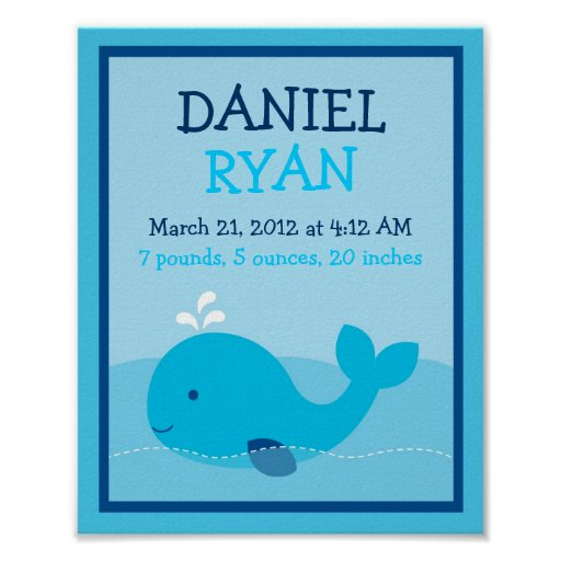 Nautical Whale Nursery Wall Art Birth Print