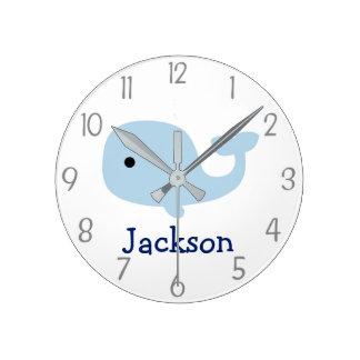 Nautical Whale Nursery Wall Clock