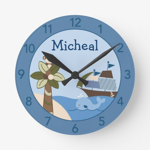 Nautical Whale Personalized Nursery Wall Clock