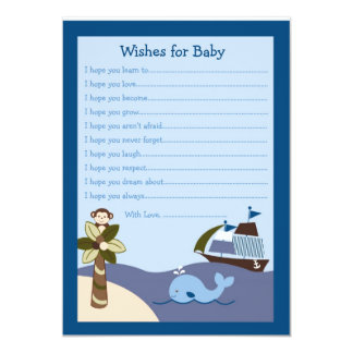 Nautical Whale Pirate Ship Wishes for Baby Card