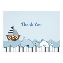 Nautical Whale Sailboat Thank You Note Cards
