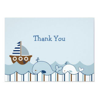 Nautical Whale Sailboat Thank You Note Cards Custom Invites