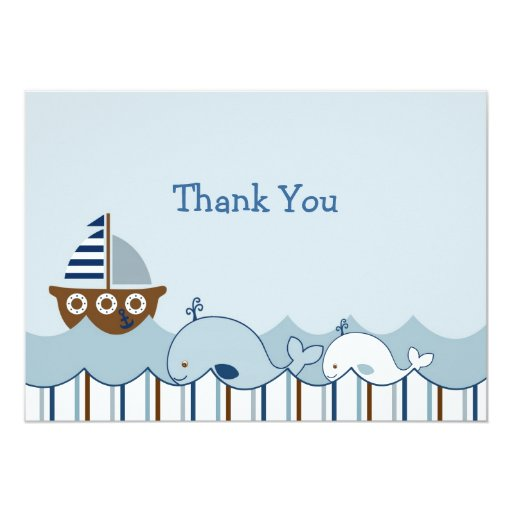 """Nautical Whale Sailboat Thank You Note Cards 5"""" X 7"""" Invitation Card"""