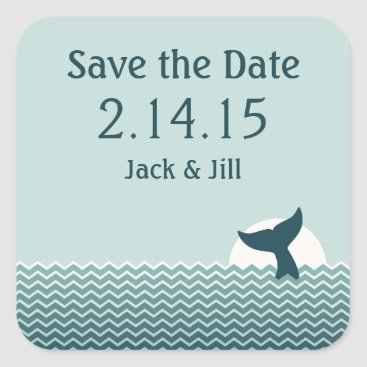 Beach Themed Nautical Whale Tail Save the Date Square Sticker