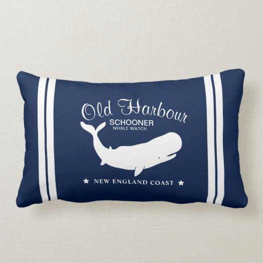Nautical Whale Watching Label Lumbar Pillow