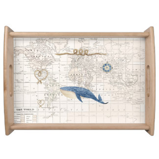 Nautical Whale with world map serving tray