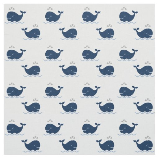 Nautical whales pattern navy blue and gray fabric zazzle for Whale fabric