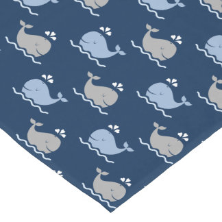 Nautical Whales Table Runner   Navy Blue Gray