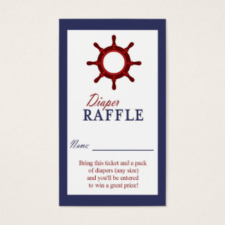 Nautical Wheel Blue and Red Diaper Raffle Ticket