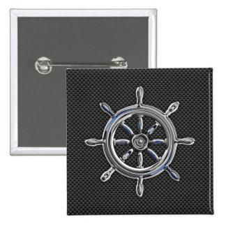 Nautical Wheel on Carbon Fiber Decor Pinback Button