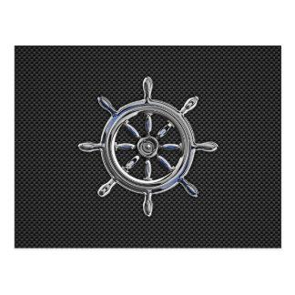 Nautical Wheel on Carbon Fiber Decor Postcard