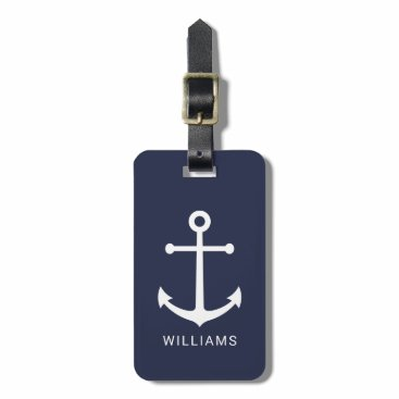 Nautical White Anchor and Custom Name on Navy Blue Bag Tag