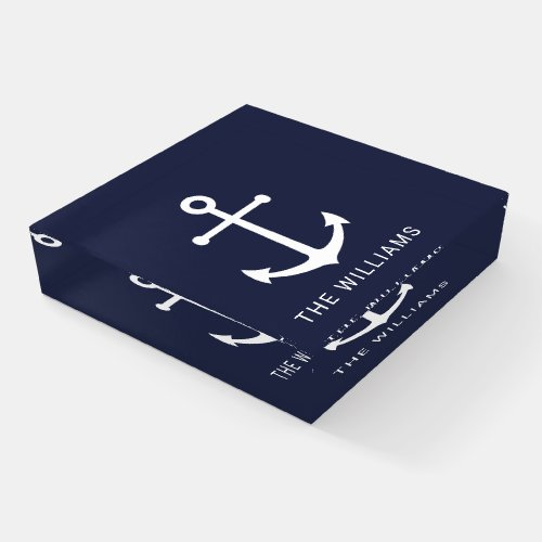 Nautical White Anchor and Custom Name on Navy Blue Paperweight