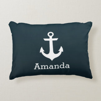 Nautical White Anchor Blue Ombre Personalized Name Accent Pillow
