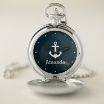 Nautical White Anchor Blue Ombre Personalized Name Pocket Watch