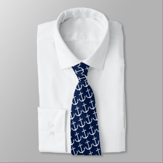 Nautical White Anchor Boating Sailing Captain Neck Tie