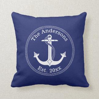 Nautical White Anchor Family Name Throw Pillow