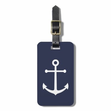 Nautical White Anchor on Navy Blue Bag Tag
