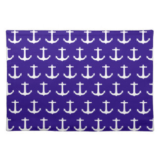 Nautical White Anchor Pattern Cloth Placemat