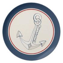 Nautical White Anchor Plate