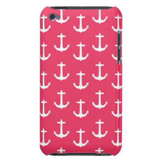 Nautical White Anchors against Fuchsia Pink Barely There iPod Cover