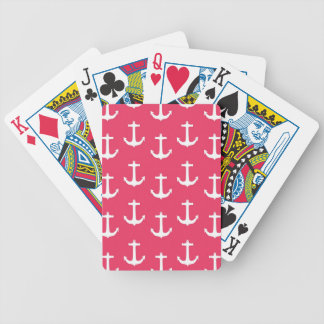 Nautical White Anchors against Fuchsia Pink Bicycle Playing Cards