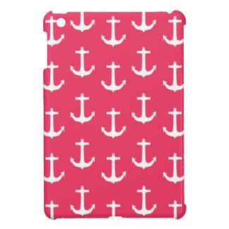 Nautical White Anchors against Fuchsia Pink Case For The iPad Mini